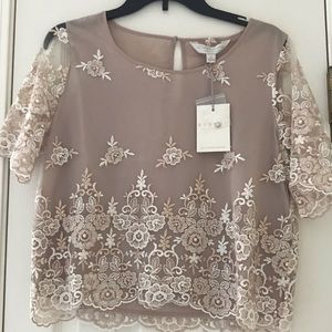 LC Runway Lauren Conrad champagne embroidered top
